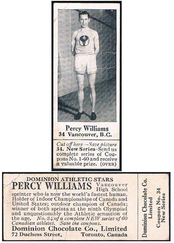 Percy Williams Dominion Chocolate sports card