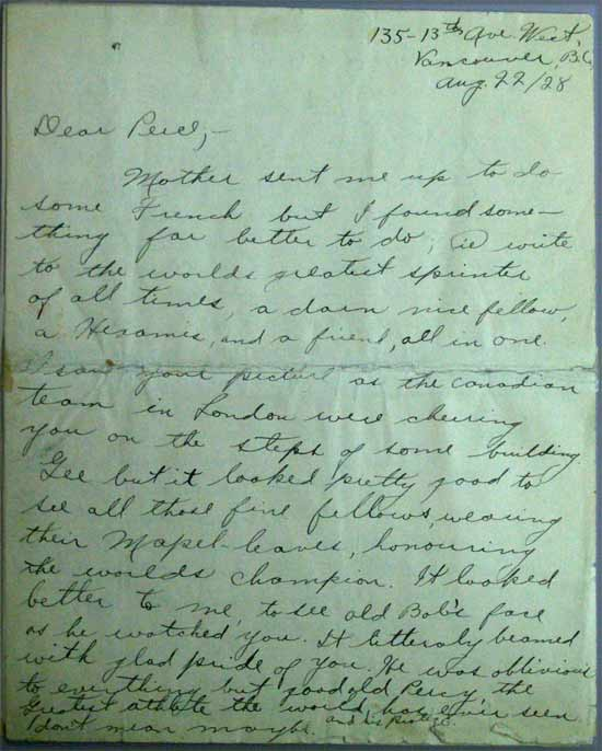 letter bobby gual percy williams