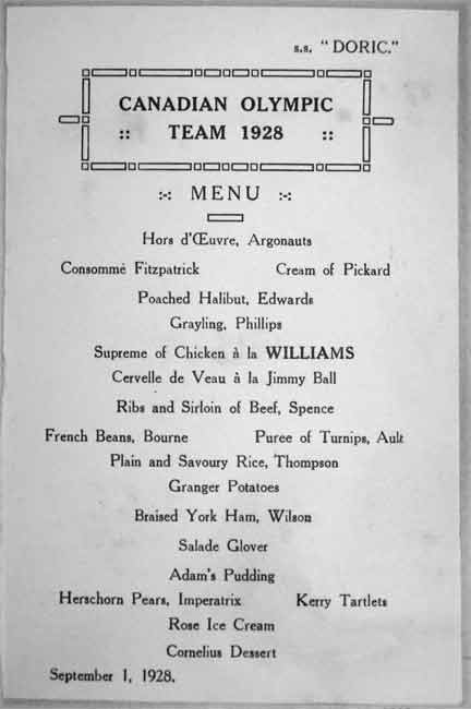 ss doric menu percy williams