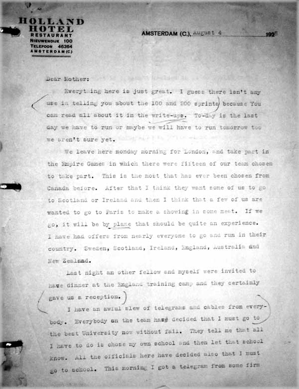 percy williams letter August 4, 1928
