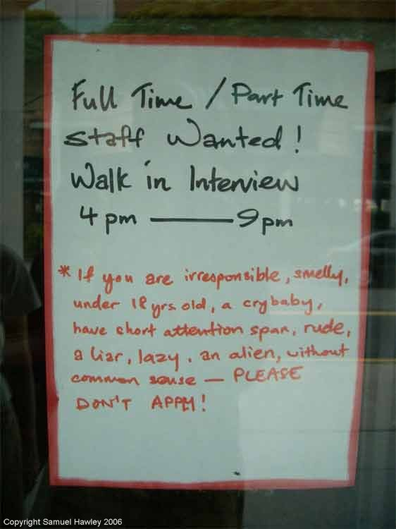 Singapore job advert